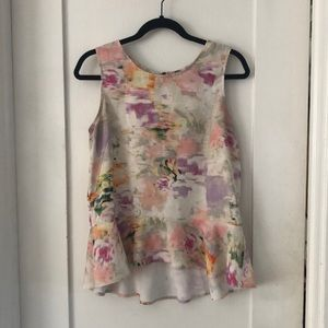 Watercolor peplum tank